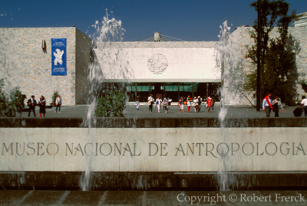 MEXICO, MEXICO CITY, CHAPULTEPEC PARK National Museum of Anthropology; main entrance with fountains