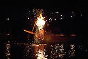 Traditional fishing using cormorants to catch fish at Inuyama on the Kiso River