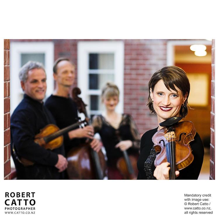 Douglas Beilman;Rolf Gjelsten;Gillian Ansell;Helene Pohl (New Zealand String Quartet)  at Victoria University, Wellington, New Zealand.