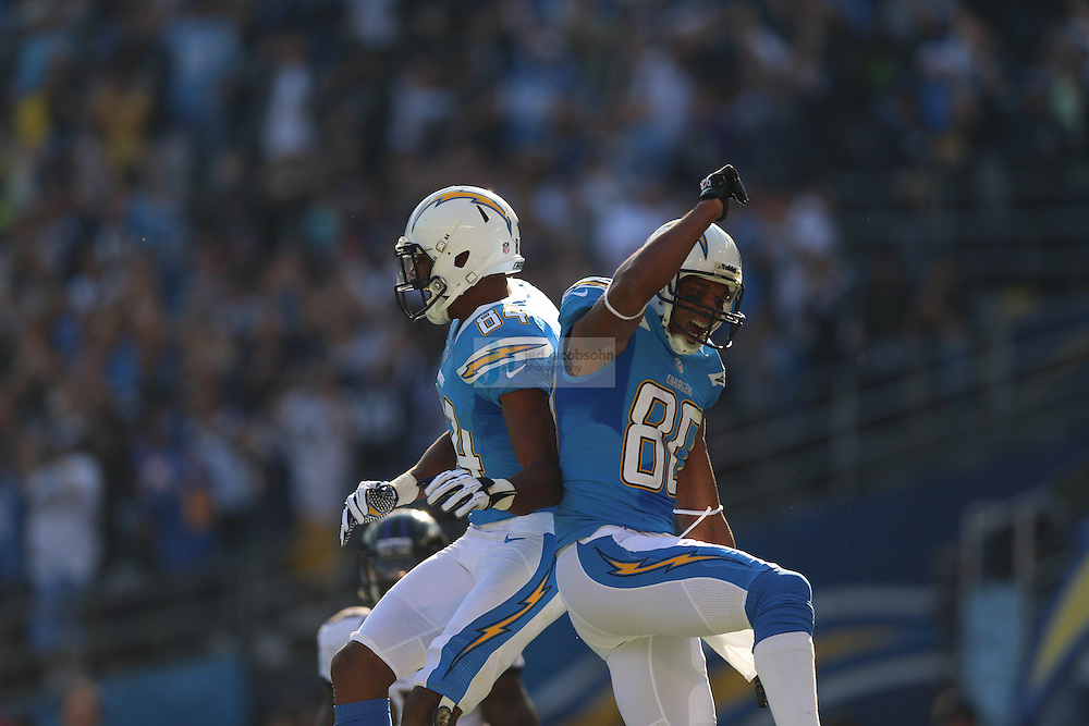 San Diego Chargers wide receiver Malcom Floyd (80) catches a touchdown against the Baltimore Ravens during an NFL game on Sunday, November 25, 2012 in San Diego, CA.  (Photo by Jed Jacobsohn)