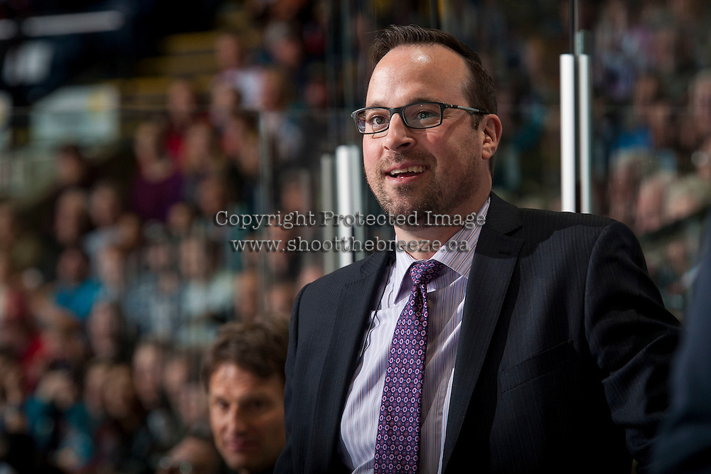 KELOWNA, CANADA - APRIL 14: Kris Mallette, assistant coach of the Kelowna Rockets stands on the bench against the Victoria Royals on April 14, 2016 at Prospera Place in Kelowna, British Columbia, Canada.  (Photo by Marissa Baecker/Shoot the Breeze)  *** Local Caption *** Kris Mallette;
