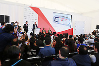 (L to R): Sergio Perez (MEX) Sahara Force India F1 with Nico Hulkenberg (GER) Sahara Force India F1 at a Press Conference.<br /> Autodromo Hermanos Rodriguez Circuit Visit, Mexico City, Mexico. Thursday 22nd January 2015.