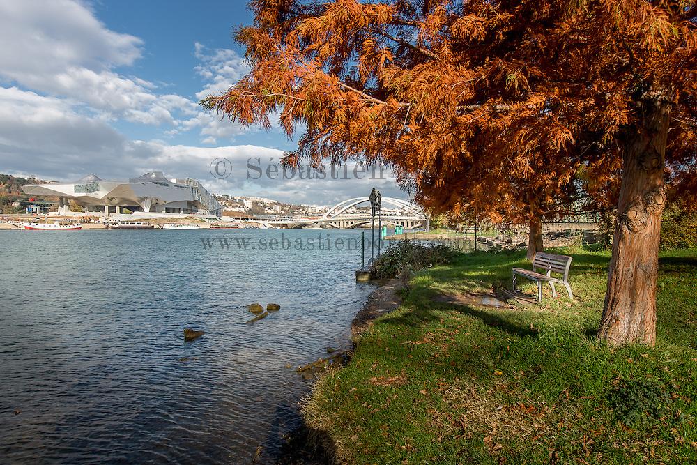 Parc Gerland avec vue sur le musée des Confluences et le pont Raymond barre // VParc Gerland anv view of Confluence museum and Raymon Barre bridge at background