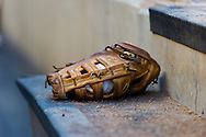 A close up view of a glove on the steps of the Minnesota Twins dugout during Game 2 against the Miami Marlins of a split doubleheader on April 23, 2013 at Target Field in Minneapolis, Minnesota.  The Marlins defeated the Twins 8 to 5.  Photo: Ben Krause