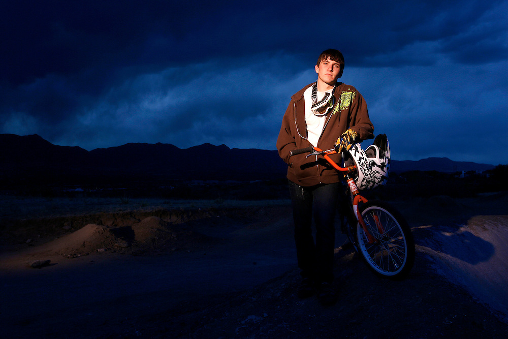 """051011-Colorado Springs, COLORADO-bmx-Rider Jason """"Billy"""" Blair, or Monument, poses for a portrait Tuesday, May 10, 2011 at Pikes Peak BMX track.  .Photo By Matthew Jonas/Evergreen Newspapers/Photo Editor"""