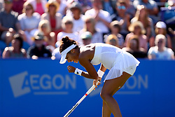 Great Britain's Heather Watson celebrates during her match against Slovakia's Dominika Cibulkova during day four of the AEGON International at Devonshire Park, Eastbourne.