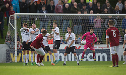 Linlithgow Rose Colin Strickland shot saved.<br /> Half time : Linlithgow Rose 0 v 0 Raith Rovers, William Hill Scottish Cup Third Round game player today at Prestonfield.