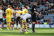Joe Garner places the ball before missing his penalty during the Sky Bet Championship match between Preston North End and Milton Keynes Dons at Deepdale, Preston, England on 16 April 2016. Photo by Pete Burns.