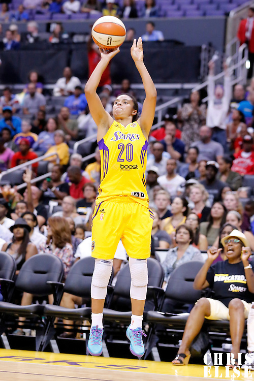 24 August 2014: Los Angeles Sparks guard Kristi Toliver (20) takes a jump shot during the Phoenix Mercury 93-68 victory over the Los Angeles Sparks, in a Conference Semi-Finals at the Staples Center, Los Angeles, California, USA.