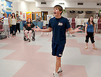 """The """"Captain"""" John Findlay practices a solo for """"Anything Goes"""" opening this weekend at the Inter Lakes High School auditorium.  (Karen Bobotas/for the Laconia Daily Sun)"""