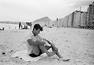 1959:Peter Townsend on the famous Copacabana beach in Rio de Janeiro.<br />