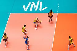 29-05-2019 NED: Volleyball Nations League Poland - Brazil, Apeldoorn<br /> Gabriela Braga GuimaraesC #10 of Brazil, Mara Ferreira Leao #1 of Brazil, Tainara Lemes Santos #11 of Brazil, Lorenne Geraldo Teixeira #24 of Brazil