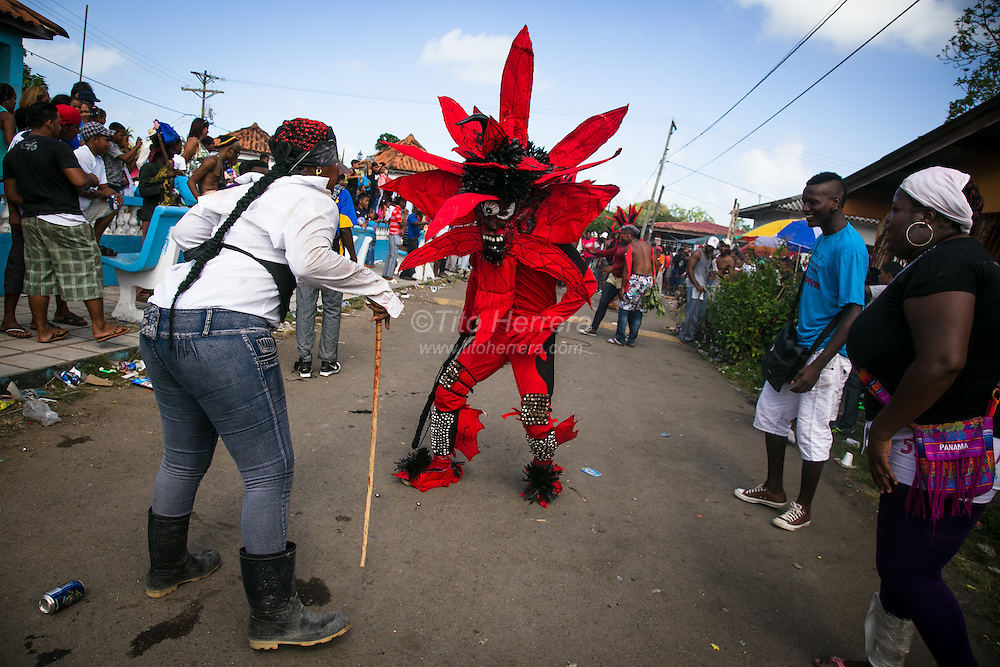 """Ash Wednesday celebration in the town of """"Nombre de Dios"""" (Name of God) in the District of Portobelo, Province of Colon, Republic of Panama.  As part of the Ash Wednesday and Carnival celebration, people of Colon do traditional """"Diablos and Congos"""" dances and games."""