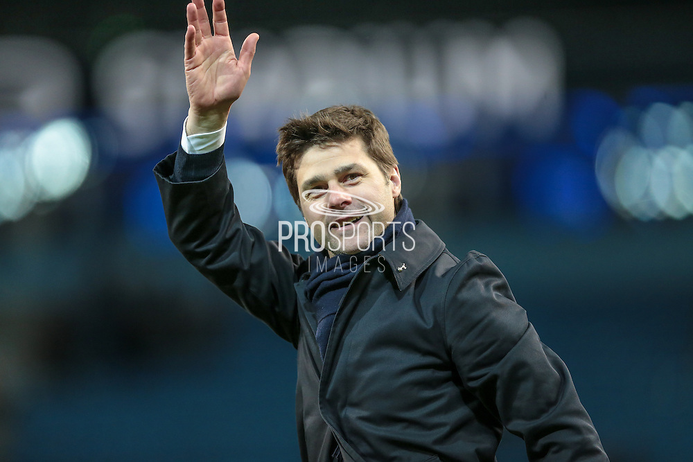 Maurcio Pochettino (Tottenham Hotspur)  waves to the travelling Spurs fans after the Barclays Premier League match between Manchester City and Tottenham Hotspur at the Etihad Stadium, Manchester, England on 14 February 2016. Photo by Mark P Doherty.