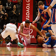 27 February 2018: San Diego State men's basketball hosts Boise State in their last meet up of the regular season at Viejas Arena. San Diego State Aztecs forward Nolan Narain (24) dives for a loose ball during the second half. The Aztecs beat the Broncos 72-64.  <br /> More game action at sdsuaztecphotos.com