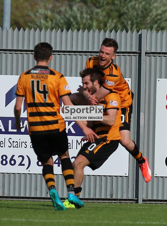 Alloa players Celebrate after Edward Ferns scores Alloas second goal during the Dumbarton FC v Alloa FC Scottish Championship 5th September 2015 <br /> <br /> (c) Andy Scott | SportPix.org.uk