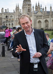 © Licensed to London News Pictures. 31/05/2017. Cambridge, UK.  Liberal Democrat leader Tim Farron talks to locals near Senate House in Cambridge ahead of a leaders debate on BBC one. Recent polls have show a closing in the gap between the Labour Party and Conservative Party, in what was expected to be a landslide general election victory for the Conservatives. Photo credit: Peter Macdiarmid/LNP