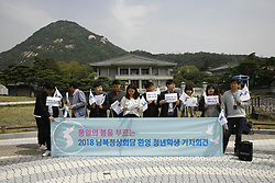 April 26, 2018 - Seoul, SOUTH KOREA - April 26, 2018-Seoul, South Korea-South Korean people shout slogans during an Inter Korean Summit support rally near president blue house in Seoul, South Korea. Inther Korean sumit held on April 27, 2018. (Credit Image: © Ryu Seung-Il via ZUMA Wire)