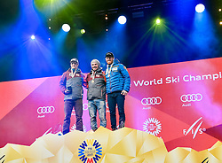 17.02.2017, St. Moritz, SUI, FIS Weltmeisterschaften Ski Alpin, St. Moritz 2017, Riesenslalom, Herren, Siegerehrung, im Bild v.l. Roland Leitinger (AUT, Herren Riesenslalom Silbermedaille), Marcel Hirscher (AUT, Herren Riesenslalom Weltmeister und Goldmedaille), Leif Kristian Haugen (NOR, Herren Riesenslalom Bronzemedaille) // f.l. men's Giant Slalom Silver medalist Roland Leitinger of Austria men's Giant Slalom world Champion and Gold medalist Marcel Hirscher of Austria men's Giant Slalom Bronze medalist Leif Kristian Haugen of Norway during the winner Ceremony for the men's Giant Slalom of the FIS Ski World Championships 2017. St. Moritz, Switzerland on 2017/02/17. EXPA Pictures © 2017, PhotoCredit: EXPA/ Jonas Ericson