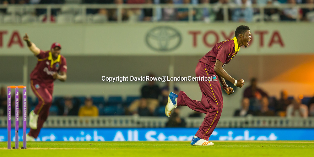 London,UK. 27 September 2017. Alzarri Joseph celebrates after getting the wicket of Sam Billings, his fifth wicket of the innings. England v West Indies. In the fourth Royal London One Day International at the Kia Oval.