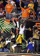 Cincinnati Bengals wide receiver A.J. Green (18) and Pittsburgh Steelers cornerback Ike Taylor (24) leap in the air on an incomplete end zone pass in the fourth quarter during the NFL week 2 football game against the Pittsburgh Steelers on Monday, Sept. 16, 2013 in Cincinnati. The Bengals won the game 20-10. ©Paul Anthony Spinelli