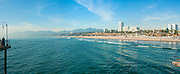 Santa Monica CA, beach, Skyline, Cityscape, Beautiful, Clear Day, Panorama, Santa Monica, California, United States of America, North America