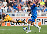 Billy Paynter (Hartlepool United) shoots on goal during the Sky Bet League 2 match between Hartlepool United and Cambridge United at Victoria Park, Hartlepool, England on 19 September 2015. Photo by George Ledger.