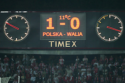WARSAW, POLAND - WEDNESDAY, SEPTEMBER 7th, 2005: The scoreboard shows Wales' 1-0 defeat by Poland during the World Cup Group Six Qualifying match at the Legia Stadium. (Pic by David Rawcliffe/Propaganda)