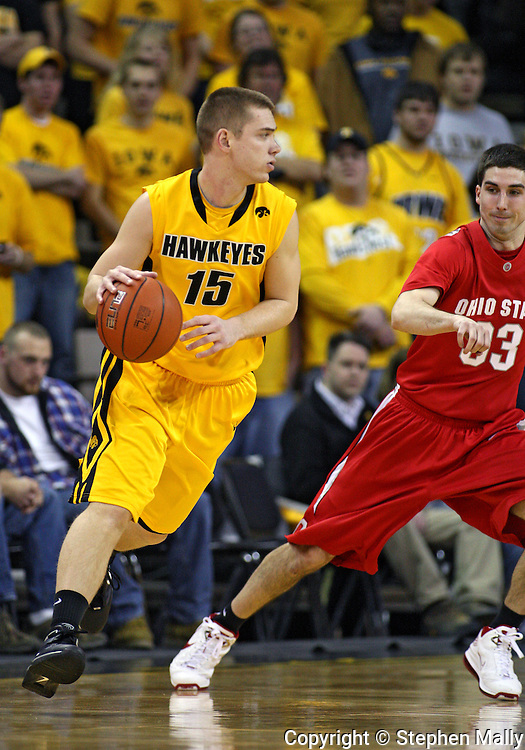 January 27, 2010: Iowa guard Devan Bawinkel (15) during the first half of their game at Carver-Hawkeye Arena in Iowa City, Iowa on January 27, 2010. Ohio State defeated Iowa 65-57.