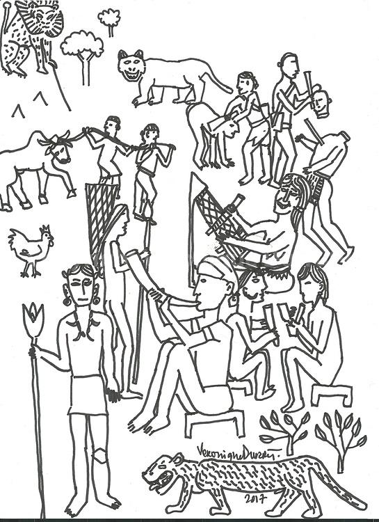 Nagaland<br /> <br /> encre de Chine sur papier 21 cm x 30 cm, V&eacute;ronique Durruty 2017<br /> Original de l'ouvrage &quot;Mondes Indiens&quot;, aux &eacute;ditions de la Martiniere <br /> 150 euros<br /> <br /> Estampe num&eacute;rique sur papier Canson 20 cm x 30 cm <br /> edit&eacute;e en 10 exemplaires num&eacute;rot&eacute;s et sign&eacute;s de 1/10 &agrave; 10/10<br /> 90 euros TTC non encadr&eacute;