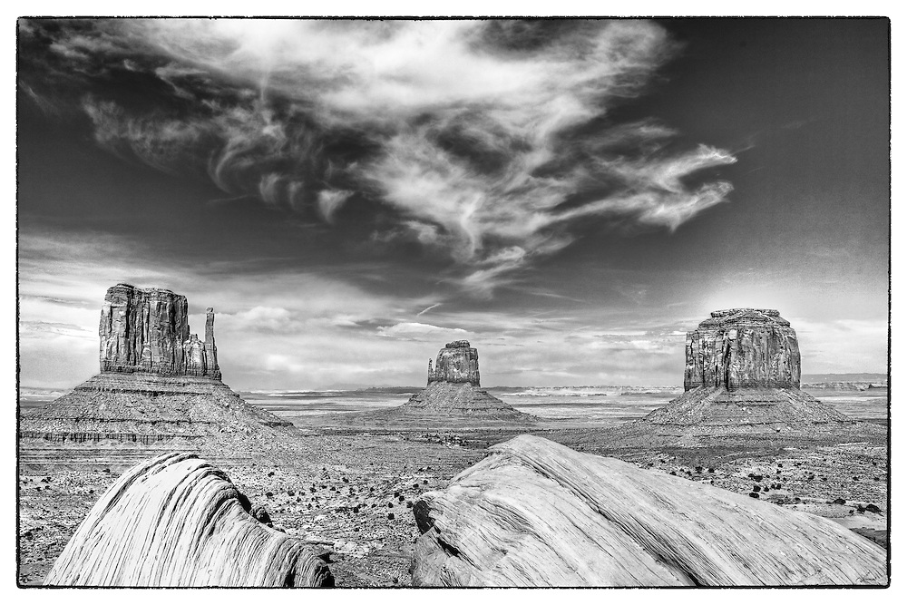 Monument Valley skyline black and white