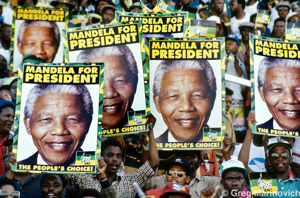 Nelson Mandela Election Campaign, ahead of the first non racial elections in South Africa, 1994