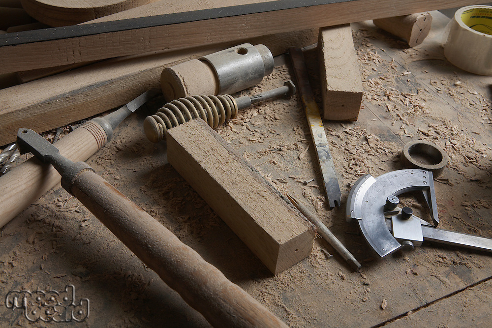 Woodworker's Tools Among Wood Shavings