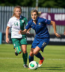 HAVERFORDWEST, WALES - Sunday, August 25, 2013: France's Claire Lavogez in action against Wales during the Group A match of the UEFA Women's Under-19 Championship Wales 2013 tournament at the Bridge Meadow Stadium. (Pic by David Rawcliffe/Propaganda)