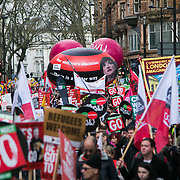 Peoples Assembly March for Health, Homes, Jobs and Education. End Austerity Now! march 16th April 2016 in London, United Kingdom. A view of the thousands of demonstrators marching through the city. 50.000 thousand plus turned out to protest against the Conservative Government and their austerity policies and against tax evasions revealed in the Panama Papers.  (photo by Kristian Buus/In Pictures via Getty Images)