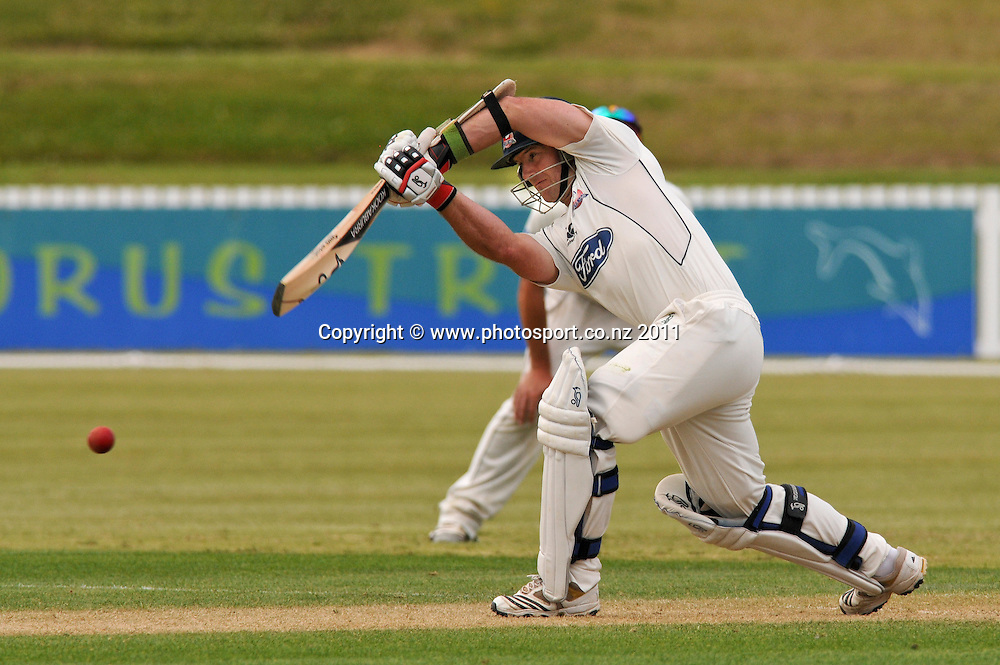 Auckland batsman Gareth Hopkins in a four day Plunket Shield cricket match at Cobham Oval, Whangarei, New Zealand, Tuesday November 8, 2011. Credit:Malcolm Pullman /Photosport