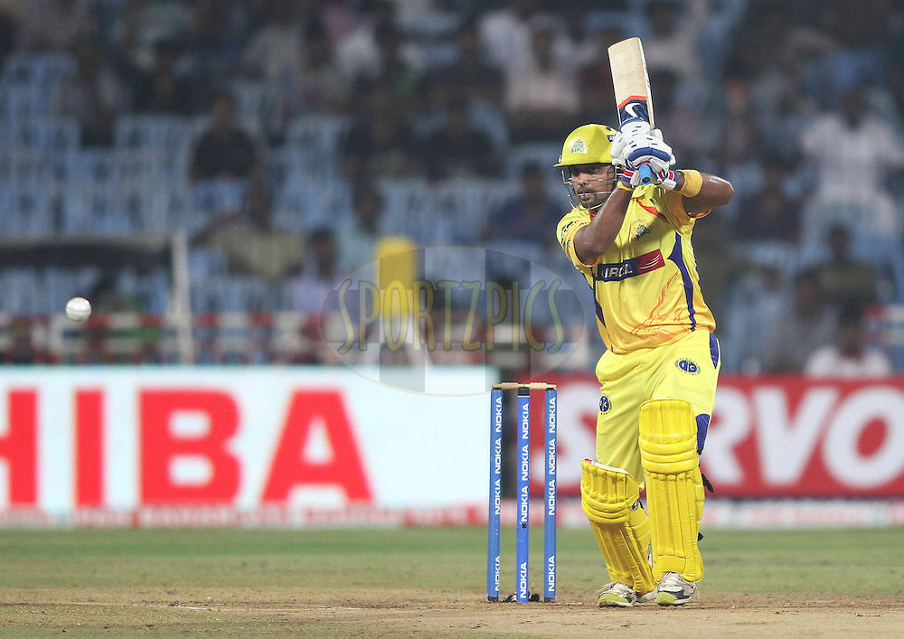 Murali Vijay of the Chennai Super Kings drives a delivery during match 9 of the NOKIA Champions League T20 ( CLT20 )between the Chennai Superkings and the Cape Cobras held at the M. A. Chidambaram Stadium in Chennai , Tamil Nadu, India on the 28th September 2011..Photo by Shaun Roy/BCCI/SPORTZPICS