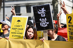 "© Licensed to London News Pictures. 17/08/2019. LONDON, UK.  Demonstrators outside Downing Street take part in a rally to show solidarity with the people of Hong Kong.  Similar ""Global Solidarity with Hong Kong"" rallies are taking place worldwide as protests in the former British colony enter their tenth week demanding democratic reforms and a halt to police brutality.  Photo credit: Stephen Chung/LNP"