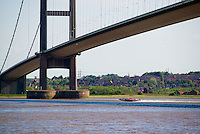 One Hull of a Boat, river trials, May 25, 2013. Hull Marina, River Humber and the Humber Bridge.