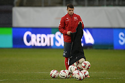 04.03.2014, AFG Arena, St. Gallen, SUI, Training der Schweizer Nationalmannschaft, vor dem Testspiel gegen Kroatien, im Bild Granit Xhaka (SUI) // during a practice session of swiss national football team prior to the international frindley against Croatia at the AFG Arena in St. Gallen, Switzerland on 2014/03/04. EXPA Pictures © 2014, PhotoCredit: EXPA/ Freshfocus/ Andy Mueller<br /> <br /> *****ATTENTION - for AUT, SLO, CRO, SRB, BIH, MAZ only*****