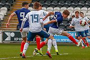 Scotland's Cameron Logan (Heat of Midlothian) stretches to get his head on the ball and directs it towards goal during the U17 European Championships match between Scotland and Russia at Simple Digital Arena, Paisley, Scotland on 23 March 2019.