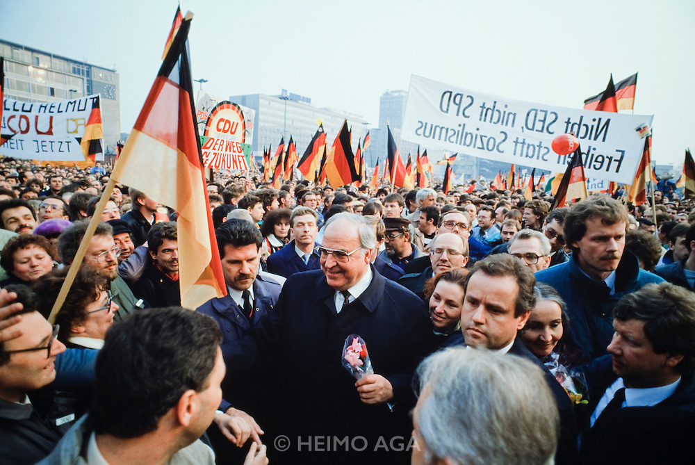 March 14, 1990. Leipzig, German Democratic Republic. West German Chancellor Helmut Kohl speaks on behalf of the conservative CDU at an election?and reunification?rally at Karl-Marx-Platz. (Photo Heimo Aga)