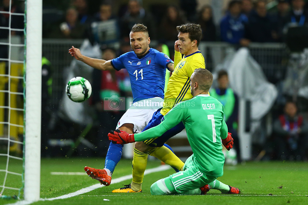 November 13, 2017 - Milan, Italy - FIFA World Cup Qualifiers play-off Switzerland v Northern Ireland.Robin Olsen of Sweden saving on Ciro Immobile of Italy at San Siro Stadium in Milan, Italy on November 13, 2017..Photo Matteo Ciambelli / NurPhoto  (Credit Image: © Matteo Ciambelli/NurPhoto via ZUMA Press)