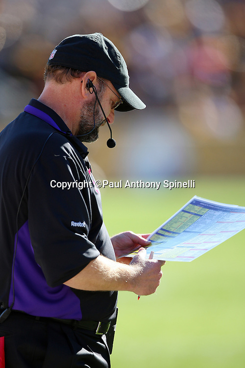 Minnesota Vikings Head Coach Brad Childress looks at a play chart during the NFL football game against the Pittsburgh Steelers, October 25, 2009 in Pittsburgh, Pennsylvania. The Steelers won the game 27-17. (©Paul Anthony Spinelli)