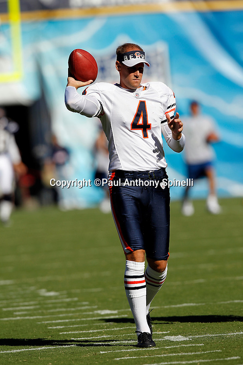 Chicago Bears punter Brad Maynard (4) throws a pregame pass during a NFL week 1 preseason football game against the San Diego Chargers, Saturday, August 14, 2010 in San Diego, California. The Chargers won the game 25-10. (©Paul Anthony Spinelli)