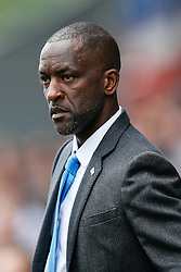 New Manager Chris Powell, in his first game in charge of Huddersfield, looks on from the dugout - Photo mandatory by-line: Rogan Thomson/JMP - 07966 386802 - 13/09/2014 - SPORT - FOOTBALL - Huddersfield, England - The John Smith's Stadium - Huddersfield town v Middlesbrough - Sky Bet Championship.