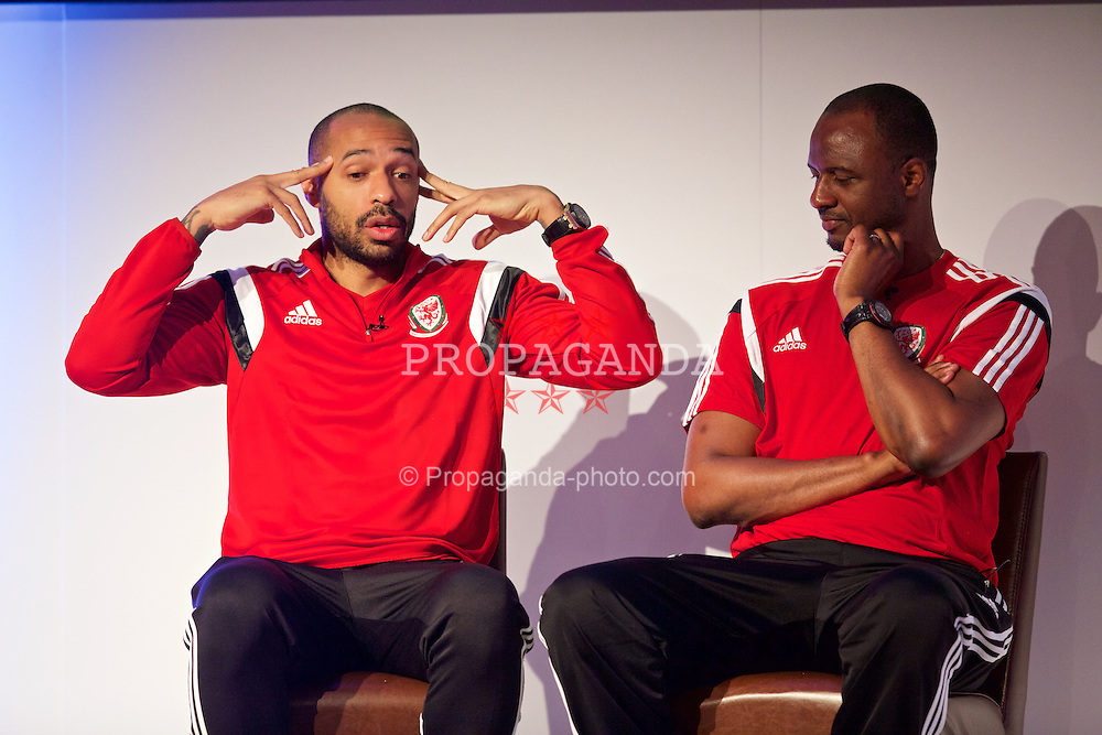 NEWPORT, WALES - Saturday, May 30, 2015: Thierry Henry and Patrick Vieira during the Football Association of Wales' National Coaches Conference 2015 at the Celtic Manor Resort. (Pic by David Rawcliffe/Propaganda)
