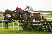 04/12/2016,  Bar One Racing at Fairyhouse<br /> Race 3: The Bar One Racing Hatton`s Grace Hurdle<br /> Gordon Elliott trained Apple`s Jade with Bryan Cooper in the saddle (next to rail) clears the last along side Vroum Vroum Mag and goes on to win the The Bar One Racing Hatton`s Grace Hurdle at Fairyhouse<br /> Photo: David Mullen /www.cyberimages.net / 2016<br /> ISO: 1250; Shutter: 1/1250; Aperture: 4<br /> File Size: 2.4MB<br /> Print Size: 8.6 x 5.8 inches