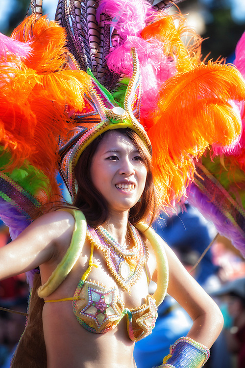 Young Taiwanese woman in revealing costume at the Dream Parade.