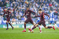 February 4, 2018 - Barcelona, Catalonia, Spain - RCD Espanyol defender Marc Navarro (2), FC Barcelona midfielder Paulinho (15), and < during the match between RCD Espanyol vs FC Barcelona, for the round 22 of the Liga Santander, played at Cornella -El Prat Stadium on 4th February 2018 in Barcelona, Spain. (Credit Image: © Urbanandsport/NurPhoto via ZUMA Press)